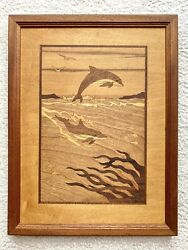 Jeff Nelson Hudson River Inlay Marquetry Wooden Dolphins Picture Vtg Signed Rare