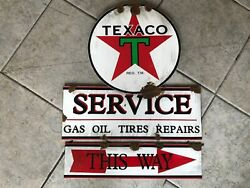 Antique Style With Barn Find Look Texaco Star Dealer Sales Service Signandnbsp
