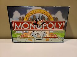 Vtg Monopoly Deluxe Edition 1998 Gold Tokens Wood Houses Hotels