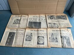 Lot 6 - Los Angeles Times Newspaper Moon July 21st 18 19 21 22 25 1969 Apollo