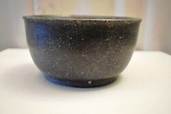 Antique Indian Black Stone Bowl Large Hand Carved Kitchenware Indian Art Rare