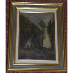 Antique 19th Swiss Rare Original Country Ball Oil Canvas Painting