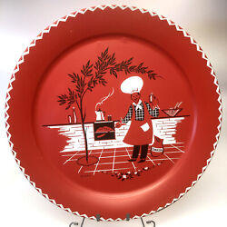 Vintage 19 Inch Tin Serving Tray By Stoyke Red Barbeque Design