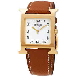 Hermes H Hour White Dial Brown Leather Ladies Watch 036842ww00