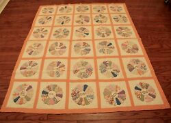 Antique Hand Quilted Dresden Plate Patchwork Quilt Signature Feedsack Museum