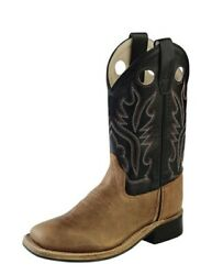 Old West Cowboy Boots Boys Leather Square Toe Brown Black Bsy1814