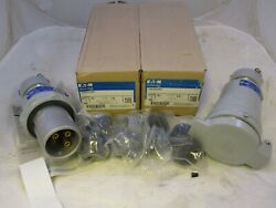 New Crouse Hinds Ccp6034bc + Crc6034bc - 60 Amp 3w 4p Plug And Connector Set