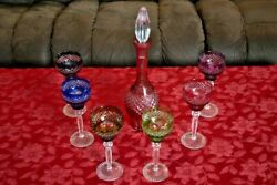 Colored Lead Crystal Glasses With Wine Decanter Set