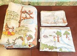 Vintage Winnie The Pooh Bedding Set Comforter/quilt, Flat Sheet And 3 Pillow Cases