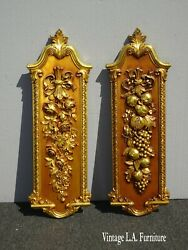 Pair Of Two Syroco French Country Gold Wall Plaques With Fruit Grapes Pictures
