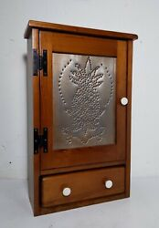 Vintage Wood Punched Tin Spice Medicine Cabinet Cupboard Rustic Country Drawer