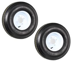 2-pack Mounted Trailer Tire On Rim 5.70-8 570-8 4hole White Wheel Load C