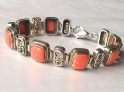 Antique Russian Chain Bracelet Sterling Silver 925 Coral Stone Women's Jewelry