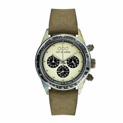 New Men's Out Of Order Ooo Cronografo Brown Leather, Cream Panda Dial, All Steel