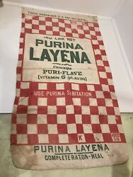 Vintage Advertising Cloth Bag Feed Purina Layena Checkers Complete 100lbs