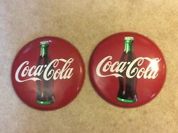 Two Vintage 1990 Coca-cola Coke Classic Metal Tin Round Button Signs