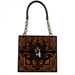 Dolce And Gabbana Unique Handmade Painted Wooden Dolce Box Bag Tote Brown 09580