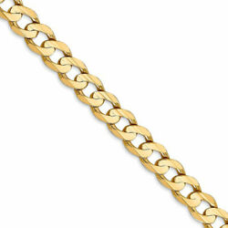 Menand039s 6.75mm 14k Yellow Gold Open Concave Curb Chain Necklace