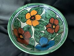 Vintage Mexican Talavera Bowl Ceramic Red Clay Hand Painted 7 1/4x2 1/2 Signed