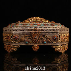 Old Antique Dynasty Palace Temple Tibetan Silver Gem Inlay Gilt Best Jewelry Box