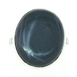 Vintage 14k Gold Gia Oval Cabochon Bezel Star Sapphire And Diamond Cocktail Ring