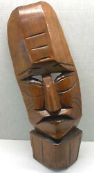 Vintage Tiki Wood Mask Hand Carved Wall Hanging Plaque Large 19 Tall