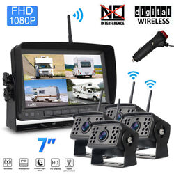 7 Monitor Fhd Digital Wireless Rear View Backup Camera System For Truck Trailer