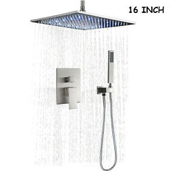 16'' Led Shower Faucet Set Walling Mount Rainfall Head System With Mixer Valve