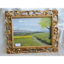 Vintage 20th Swiss Rare Original Landscape Meadow Oil Canvas Painting Unsigned