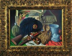 Oil Painting Om Canvas Signed Italian Military Relics War Memorial 1915-1918
