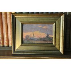 Vintage 20th Swiss Original Nubi Sole Ticino Oil Wood Painting Signed A Pessina