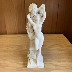 Antique Hand Carved Alabaster Statue Nude Woman Lady And Man Ca. 1920s