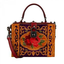 Dolce And Gabbana Handmade Painted Wooden Clutch Bag Dolce Box Tote Brown 09582