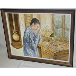 Vintage 20th Swiss Original Watchmaker Oil Canvas Painting Signed Pretre