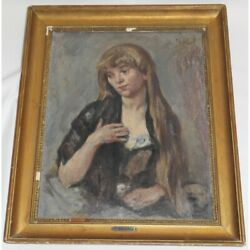 Antique 19th Swiss Original Young Woman Oil Wood Painting Signed Louis Rheiner
