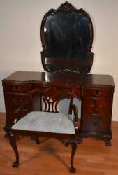1920s Antique Chippendale Flame Mahogany Ladies Desk / Vanity , Mirror And Stool