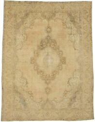 Distressed Muted Antique 9x12and0395 Classic Floral Oriental Rug Home Decor Carpet