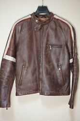 Rare | Mint Belstaff Hero Jacket Brown Moto Leather Large Italy War Of The World