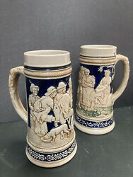 Vintage Beer Stien Made In Germany Crm 3575 And 3576 1l Mugs Ps21 Z