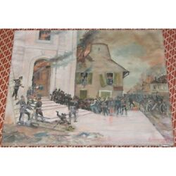 Antique 1904 Original German Soldiers Oil Canvas Painting Signed Augustowitsch