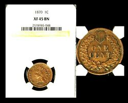 1870 1c Ngc Xf45 Bn-indian Head Cent