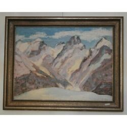 Vintage 20th Rare Original Mountains Oil Canvas Painting Signed Horn