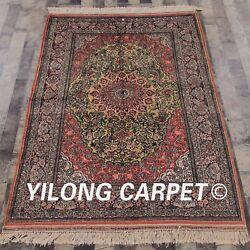 Yilong 4and039x6and039 Handmade Silk Carpet Home Decor Durable Antistatic Area Rug 071m