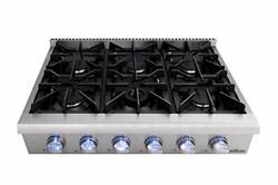 Thor Kitchen Hrt3618+grill Pro-style 36and039and039 Gas Rangetop With 6 Sealed Burners ...