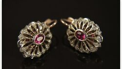 Russian Vintage 583 K - 14 K White And Rose Gold Natural Diamonds Ruby Earrings