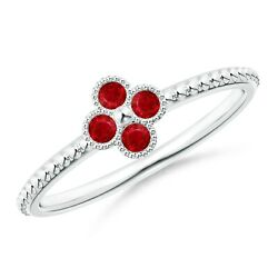 Natural Ruby Four Leaf Clover Ring With Beaded Shank In Silver/gold Size 3-13