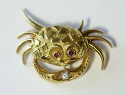 Vintage 18k Gold Diamond And Ruby Eyes Textured Crab Pin Brooch Designer Signed