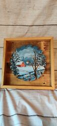 Hand Painted Red Barn Winter Scene 10 Inch Saw Blade Rustic Home Decor Gift