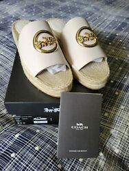 Authentic Coach Camille Espadrille Leather Upper Slip On Size 8.5 New With Box