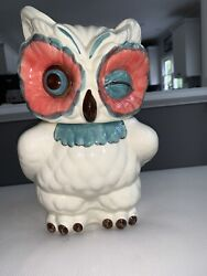 Anthropologie Andldquoa Real Hoot Winking Owl Cookie Jar Canister Euc